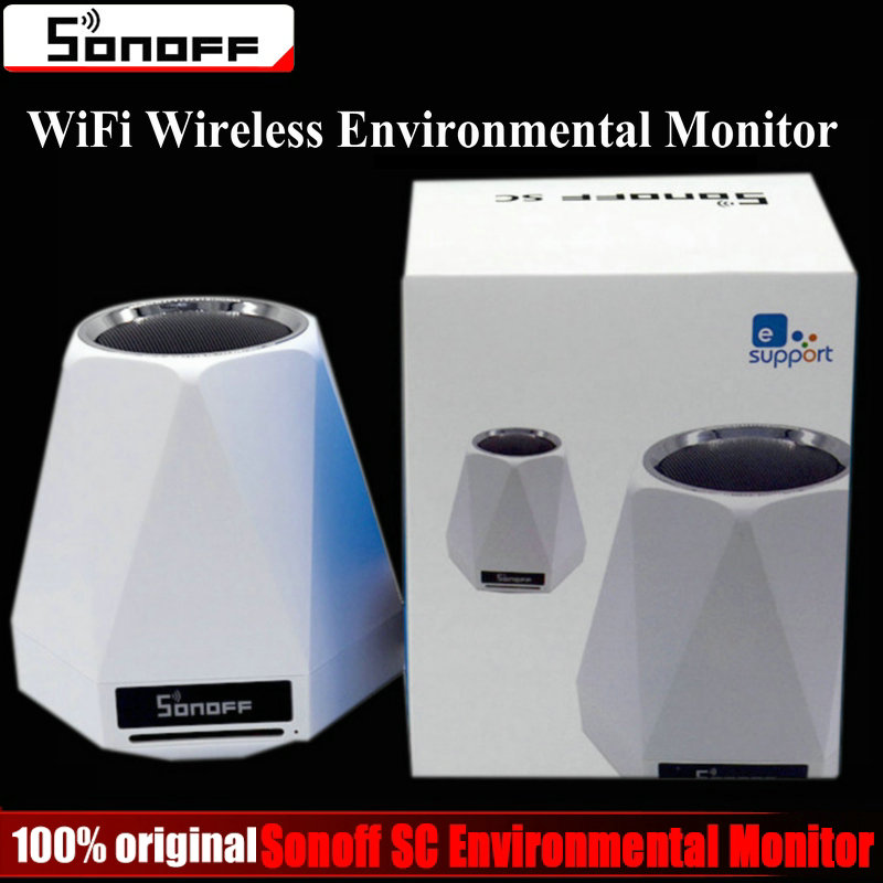 Sonoff SC WiFi Wireless Realtime Indoor Environmental Monitor Station Humidity Temperature Air Quality Light intensity Sensor digital indoor air quality carbon dioxide meter temperature rh humidity twa stel display 99 points made in taiwan co2 monitor