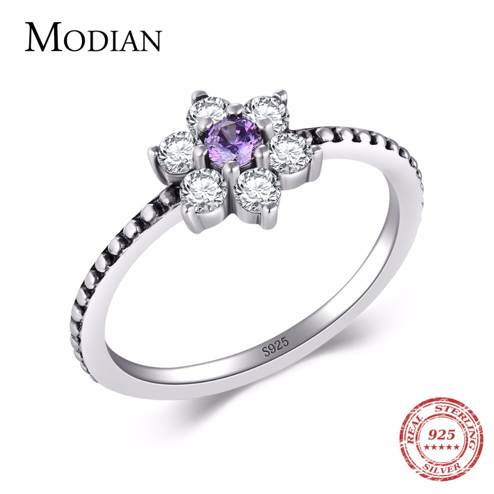 Modian 100% Real 925 Sterling Sølv Lilla Krystallblomster Ring Klassisk Beautiful Finger Rings Engasjement Mote Smykker