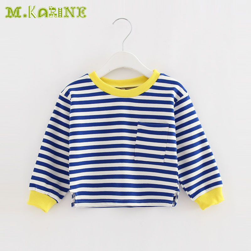 New Fashion Fall Girls Tshirts Baby Child Full Sleeve T-shirt Children Cotton Blouse Casual Stripes Clothes Solid Kids Tops 2-8Y