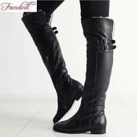 Fashion Genuine Leather PU Women Shoes Winter Keep Warm Knee High Boots Casual Shoes Black Zipper