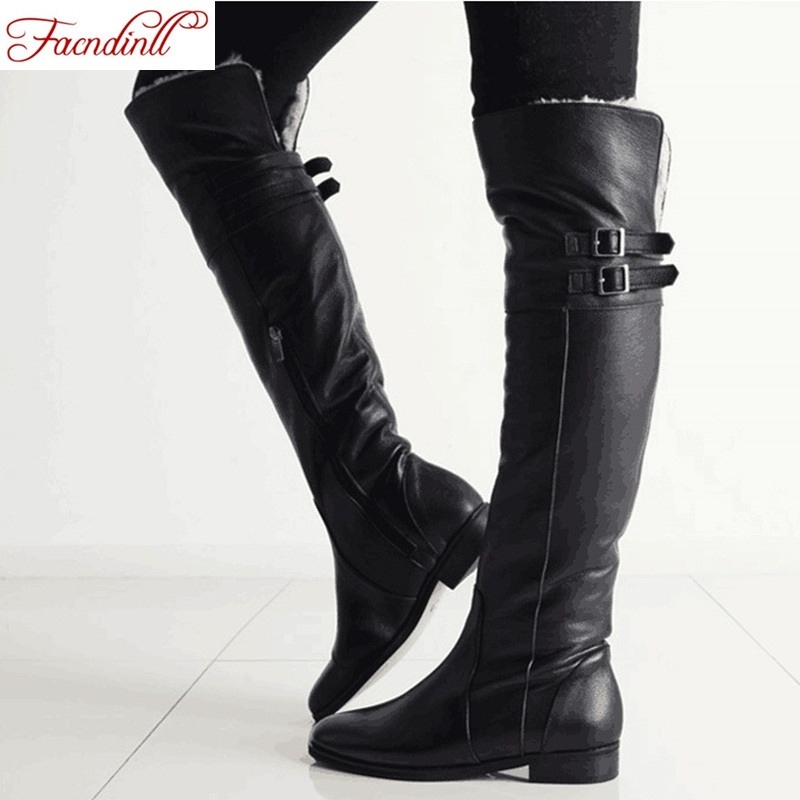 fashion genuine leather +PU women shoes winter keep warm knee high boots casual shoes black zipper fur snow boots platform shoes casual snow boots women fashion waterproof shoes female 35 45 fur 2018 winter leather high keep warm plush free shipping quality