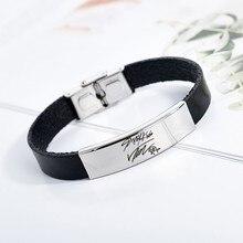 Браслет для детей с надписью, силиконовый Титановый стальной браслет с буквами, браслеты для женщин и мужчин, ювелирные изделия, браслеты