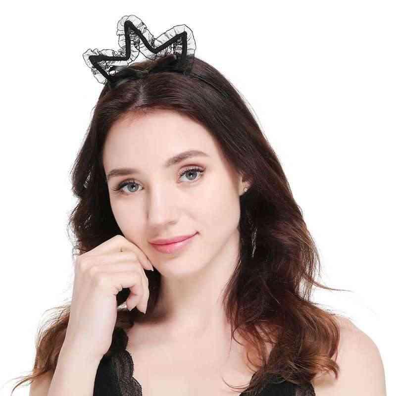 WZCX 2019 جديد الدانتيل بلون مثير القط آذان الشعر هوب القوس المرأة عارضة المد إكسسوارات الشعر العصابة