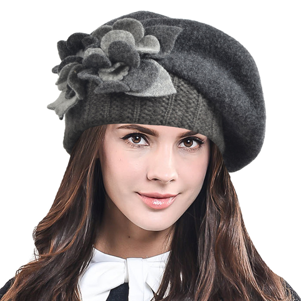 eef4291840750 HISSHE Womens Artist French Beret Hat Lady Elegant Floral 100% Wool Felt  Beret Winter Hat