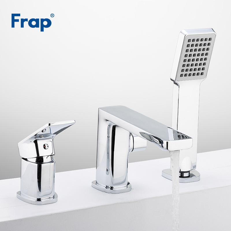Frap Bathroom Shower Set Bathtub Faucet 3-piece Split Bath Tub Bath Chrome Shower Waterfall Faucet Robinet Banheira F1146