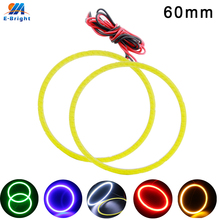 1 Pair 60mm 9V-30V COB 45 SMD Colorful RGB LED Car Halo Rings Light Waterproof LED Angel Eyes Car Headlight for Universal Car недорго, оригинальная цена