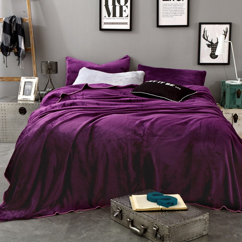 Noble Pure Purple Soft Throw Blanket Warm Coral Plaid Blankets Travel Flannel Sofa Solid Color Fleece Blankets For Bed Warm