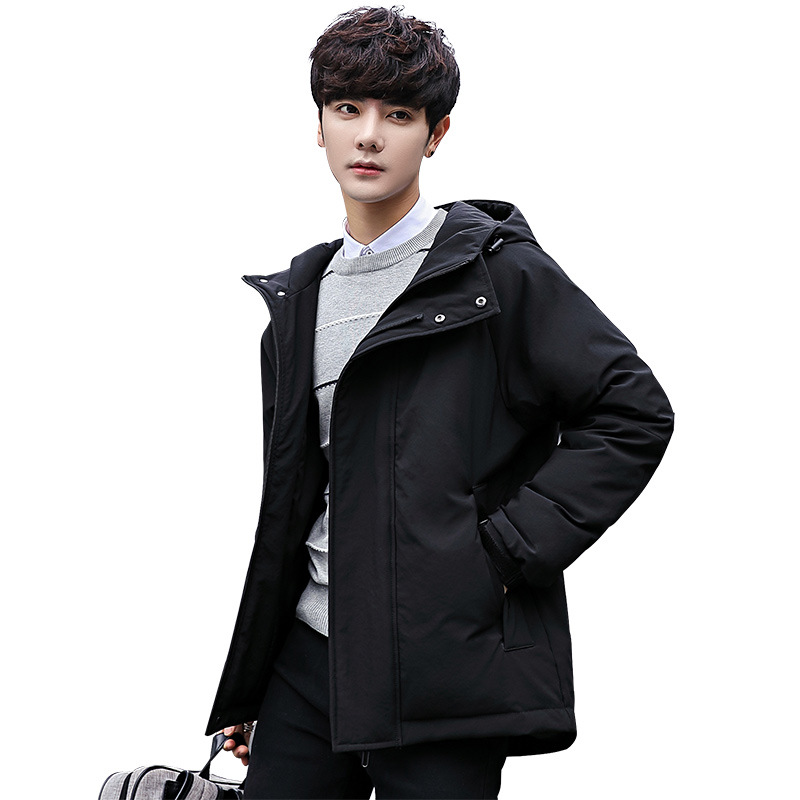 2019 New Winter Fashion Slim Male White Duck Down Jacket Korean Version of the Hooded Handsome Thick Warm Coat Casual