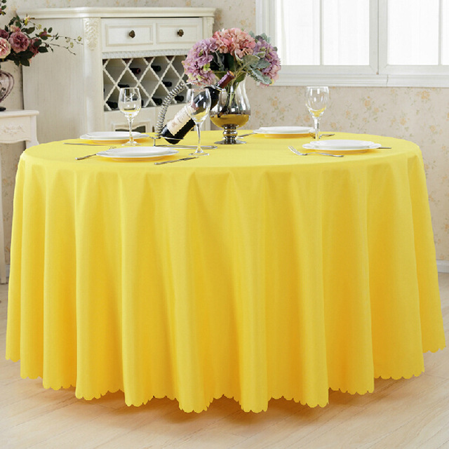 10pcs Yellow Dining Round Polyester Table Cloths Wedding Table Covers  Banquet Event Hotel Decorative Table Cloths