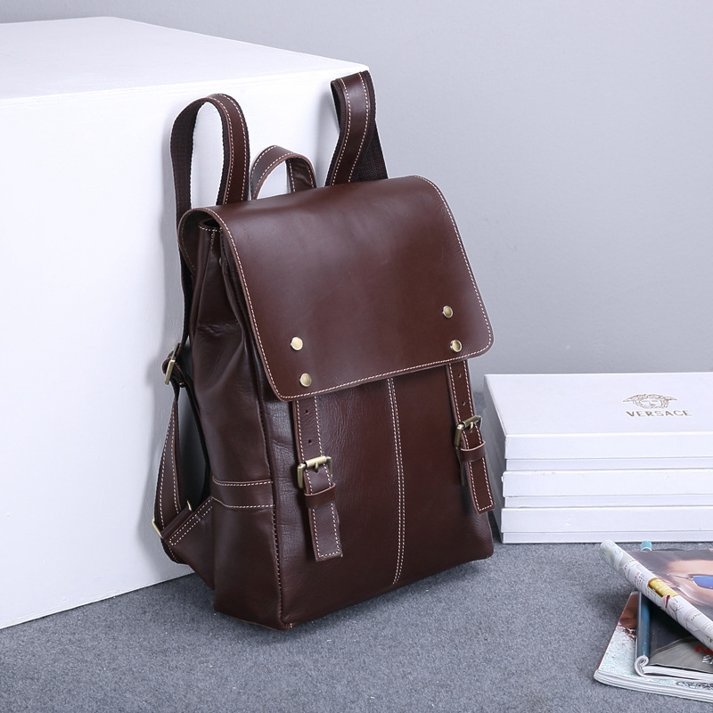 New Full Crazy Horse Genuine Cowhide Skin Leather men Women's Travel Backpack School Student Day BackPack Notebook Laptop Bag amanda maris challenges 4 workbook cd rom
