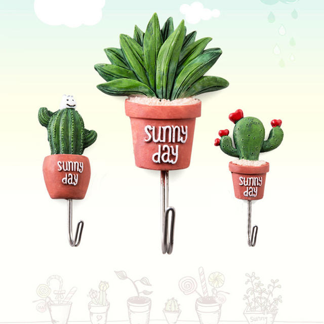 christmas decorations practical hooks artificial cactus resin succulent shape adhesive wall hanger hanging bathroom kitchen - Cactus Christmas Decorations