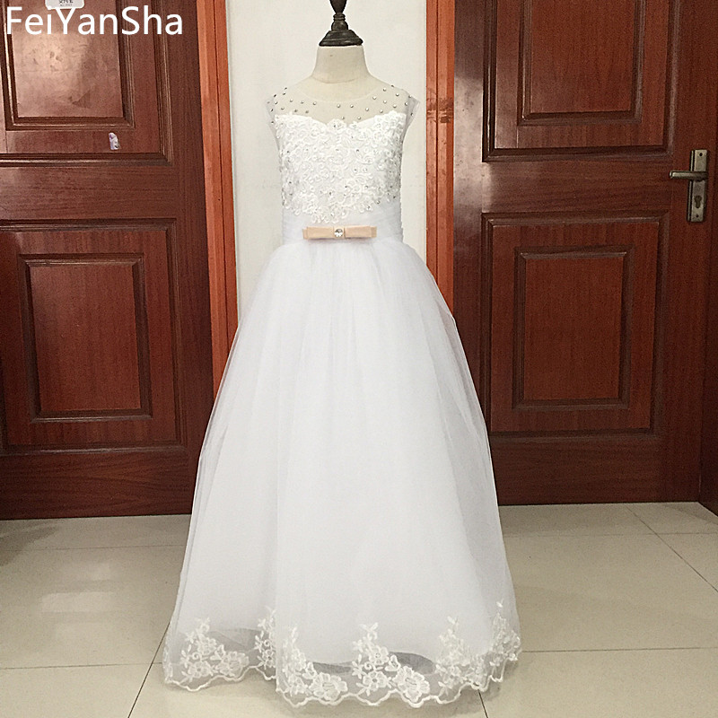 FeiYanSha Flower Girl Dresses With Bow Beaded Crystal Lace Up Applique Ball Gown First Communion Dress for Girls Customized Vest ladylike applique beaded tank top for women
