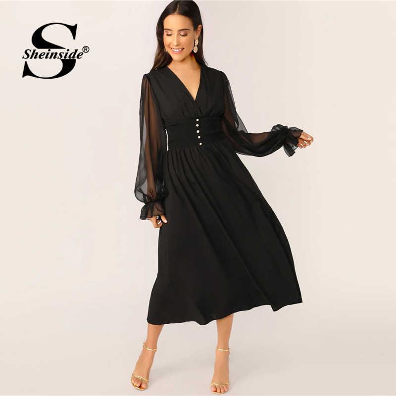 Sheinside elegancki V Neck przycisk szczegóły sukienka kobiety 2019 wiosna Mesh latarnia rękawem Patchwork sukienki damskie stałe linii sukienka