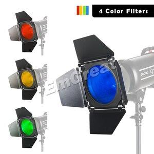 Image 4 - Godox BD 04 Bowens zamontuj drzwi do stodoły + siatka o strukturze plastra miodu + 4 filtr kolorów do standardowy reflektor do Godox QT600IIM/QT400IIM