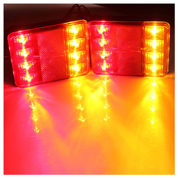 10x)  2PCS/set Waterproof 8 LED Taillights Red Yellow Rear Tail Light DC 12V for Trailer Truck Boat Car Styling Warning Light