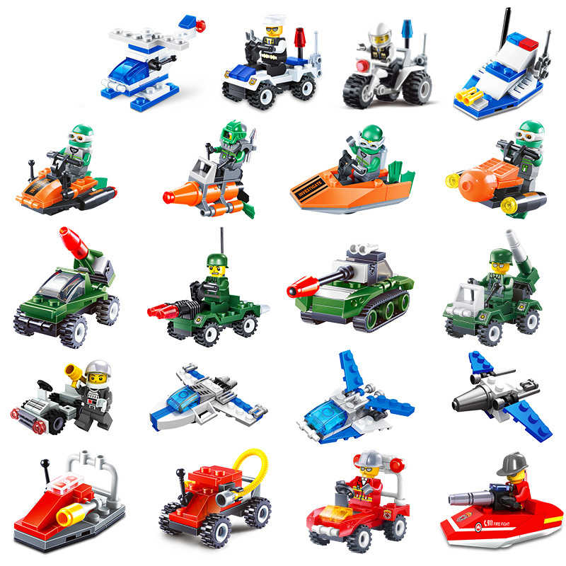 Mini Aircraft Car City Police Military Police Fire Brigade Small Building Blocks Bricks Toys For Kids