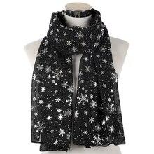 Winfox Fashion Lightweight Female Winter Black Grey Navy Snowflake Scarf Hijab Echarp Shawl Wrap Women Scarves Christmas