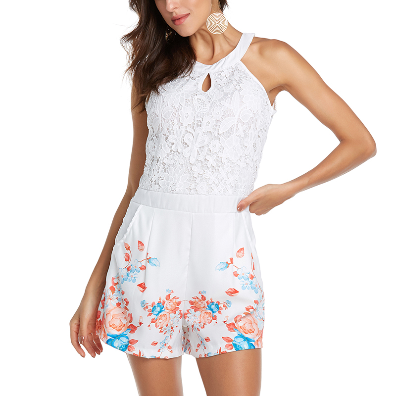 Sexy Jumpsuits Women Summer Off Shoulder Halter Print Patchwork Lace Rompers Casual Hollow Out Boho Style Beach Party Bodysuit