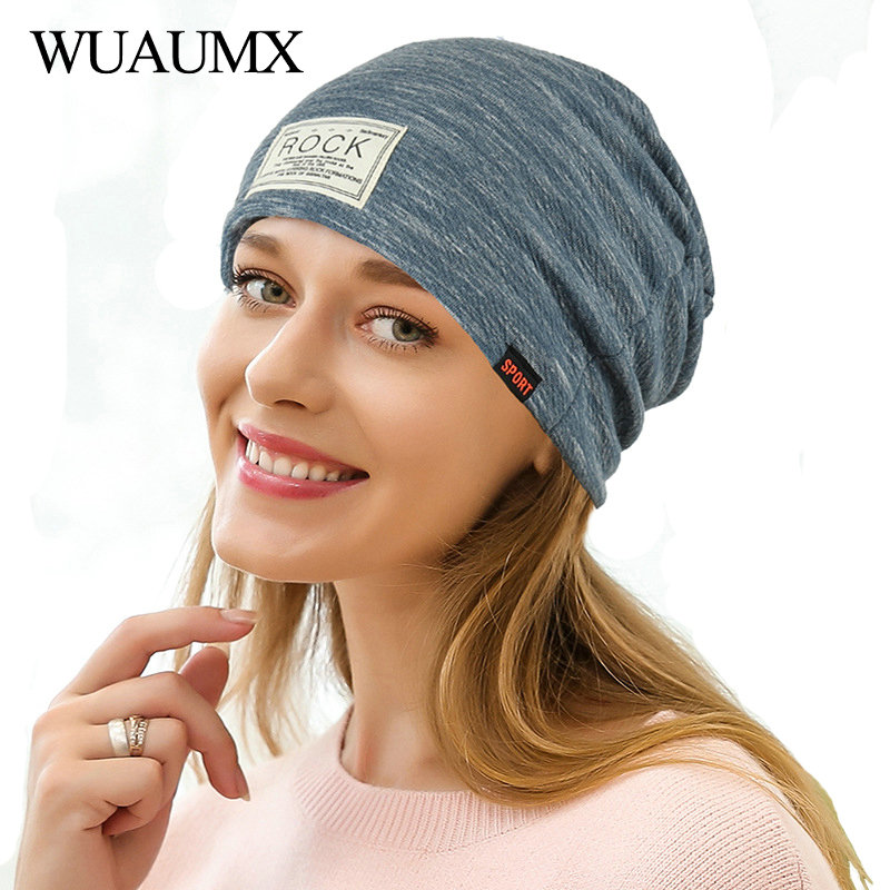 Wuaumx Spring Autumn   Beanies   Hats For Women and Men Rock label Hip Hop Hat Slouchy Baggy   Skullies     Beanie   Cap Female bonnet femme