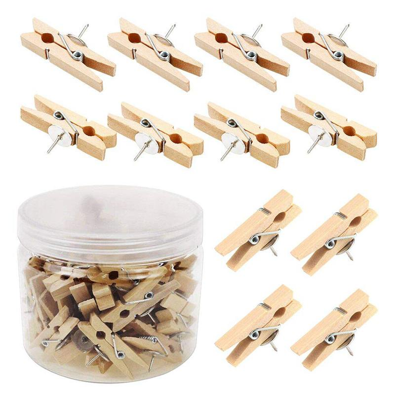 Push Pins With Wooden Clips 50Pcs Thumbtacks Pushpins Creative Paper Clips Clothespins Natural Color For Cork Board And Photo