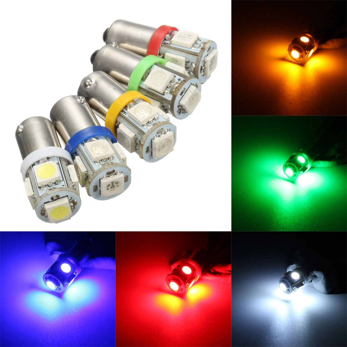 2Pcs BA9S 12V 5050 5SMD Car LED Light Auto Bulb T4W H6W Indicator License Plate Map Dome Packing Car Styling