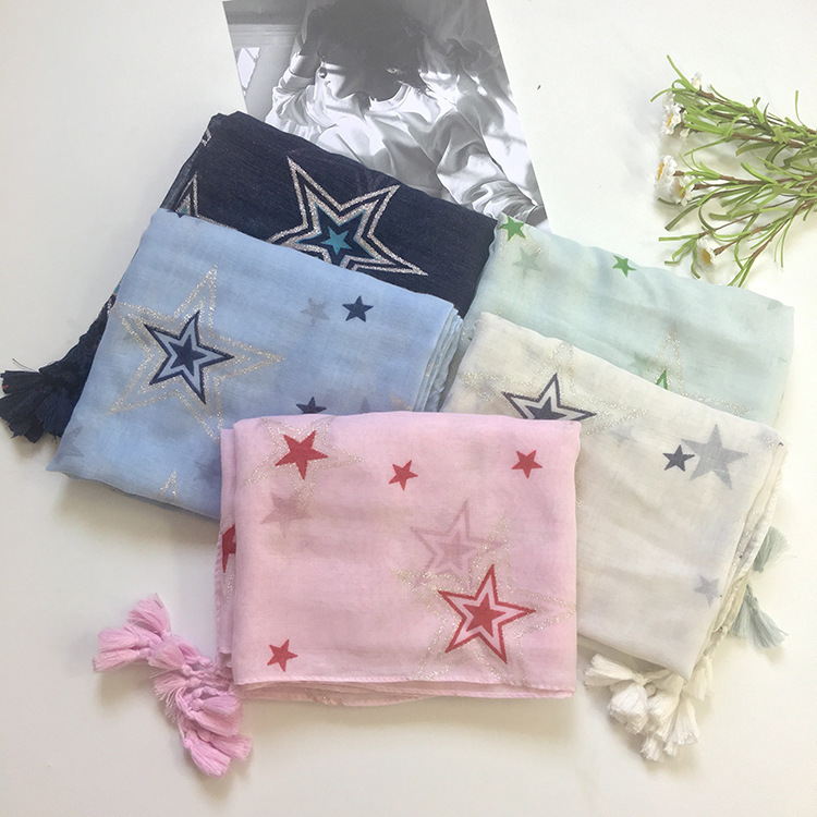 2017 New Star Print Silver Foil Tassel   Scarf   Shawls Women Voile Cotton Star   Scarves     Wrap   Hijab 5 Color 10pcs/LOT Free Shipping