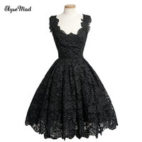 New Elegant Custom Made Real Photo Blue Lace Cocktail Dresses Min Length Evening Gown Long Sleeves