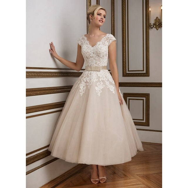 Tea Length Wedding Dresses 2016 Deep V Neck Bow Sashes Short Sleeves Bridal Gowns Liques