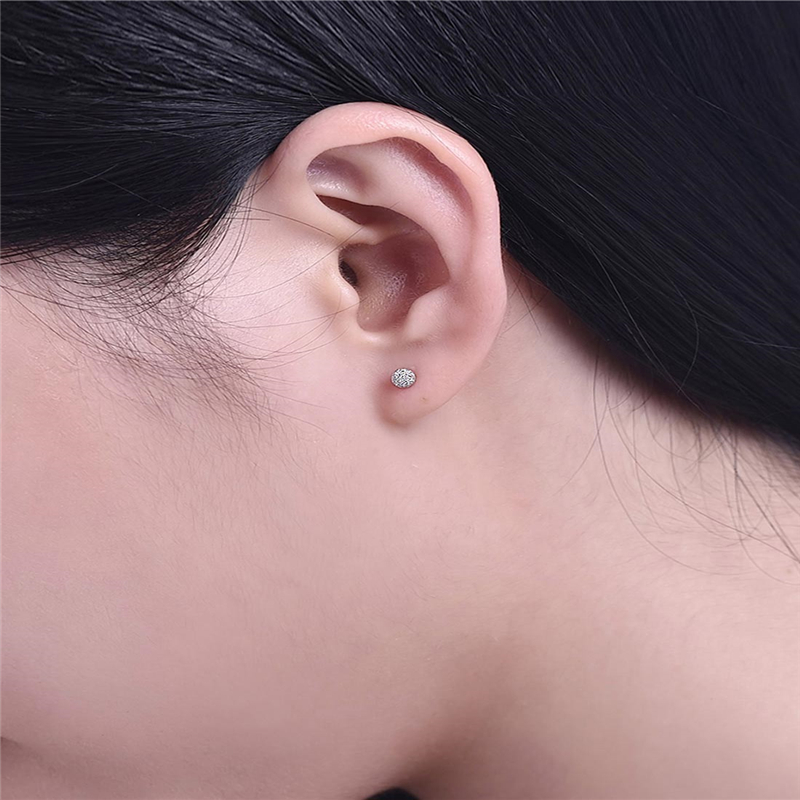 Hot selling 4mm Ear Nail Earrings 925 Silver High quality Ear Nail Piercing Cartilage Globular Earrings Body Accessories in Stud Earrings from Jewelry Accessories