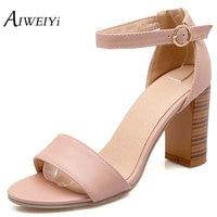 Wood Heel High Heel Sandal Shoes Chunky Heel Platform Sandals Open Toe Buckle Strap Sandal Shoes