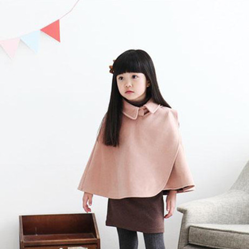 Kids Winter Cloaks for girls Pink Cape Cloaks Kids Thick Warm Velvet Wool Jacket Coat Girl's Smocks Outwear Fleece Cloak Jumpers sweet vintage style purple winter cape for women mandarin collar wool cape