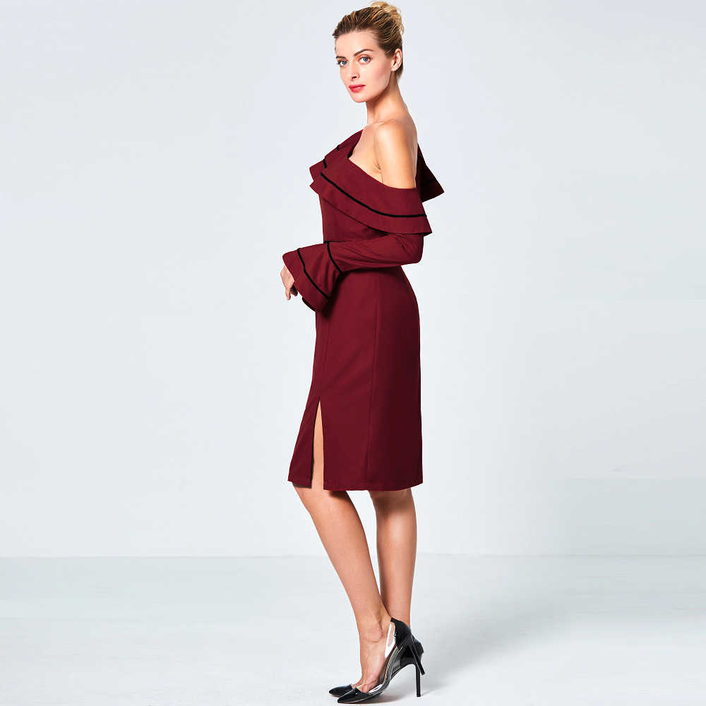 eeb2e076a4 ... Wine Red Asymmetric One Shoulder Autumn Pencil Dress Flare Long Sleeve  Women Short Gown Off Shoulder ...
