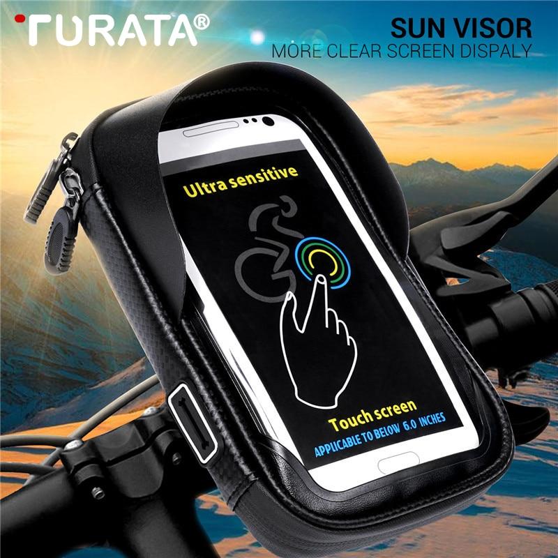 Turata 6.0 Inch Waterproof Bike Bicycle Mobile Phone Holder Stand Motorcycle Handlebar Mount Bag For Iphone X Samsung LG Huawei