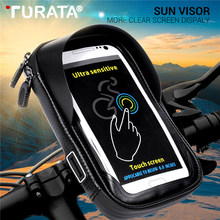 Turata 6.0 inch Waterproof Bike Bicycle Mobile Phone Holder Stand Motorcycle Handlebar Mount Bag For iphone X Samsung LG Huawei(China)