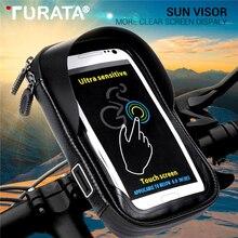 Turata 6.0 inch עמיד למים אופני אופניים טלפון נייד מחזיק מעמד אופנוע כידון הר תיק עבור iphone X סמסונג LG Huawei