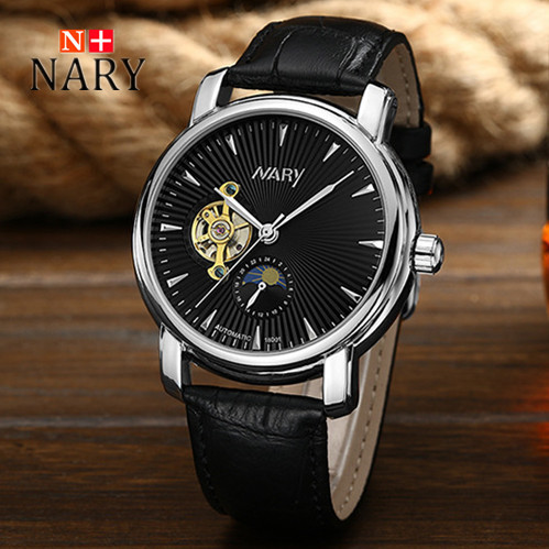 Nary Watches Men Fashion Business Leather Wristwatch Waterproof Automatic Self Wind Watches Personality Casual Relogio W0805