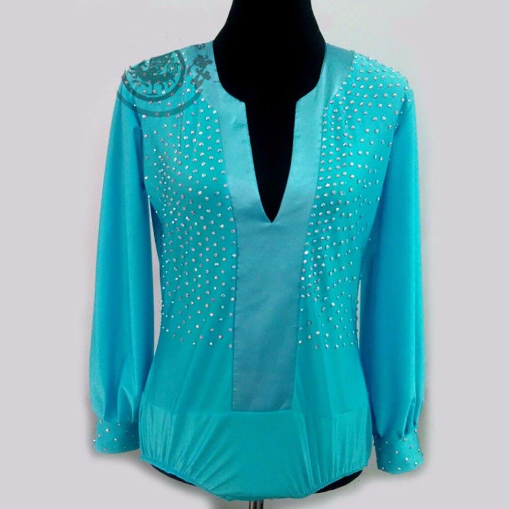 022ad834cc5e3 Best Price 2018 Men Boy Latin Dance Tops Male Leotard Lake Blue Crystal Long  Sleeve Competition Stage Ballroom Professional Shirt jacke