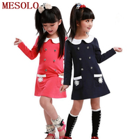 2015 Girls Dress College Spring Girls Dresses Children Long Sleeved Dress Lapel Double Breasted Pocket Dress