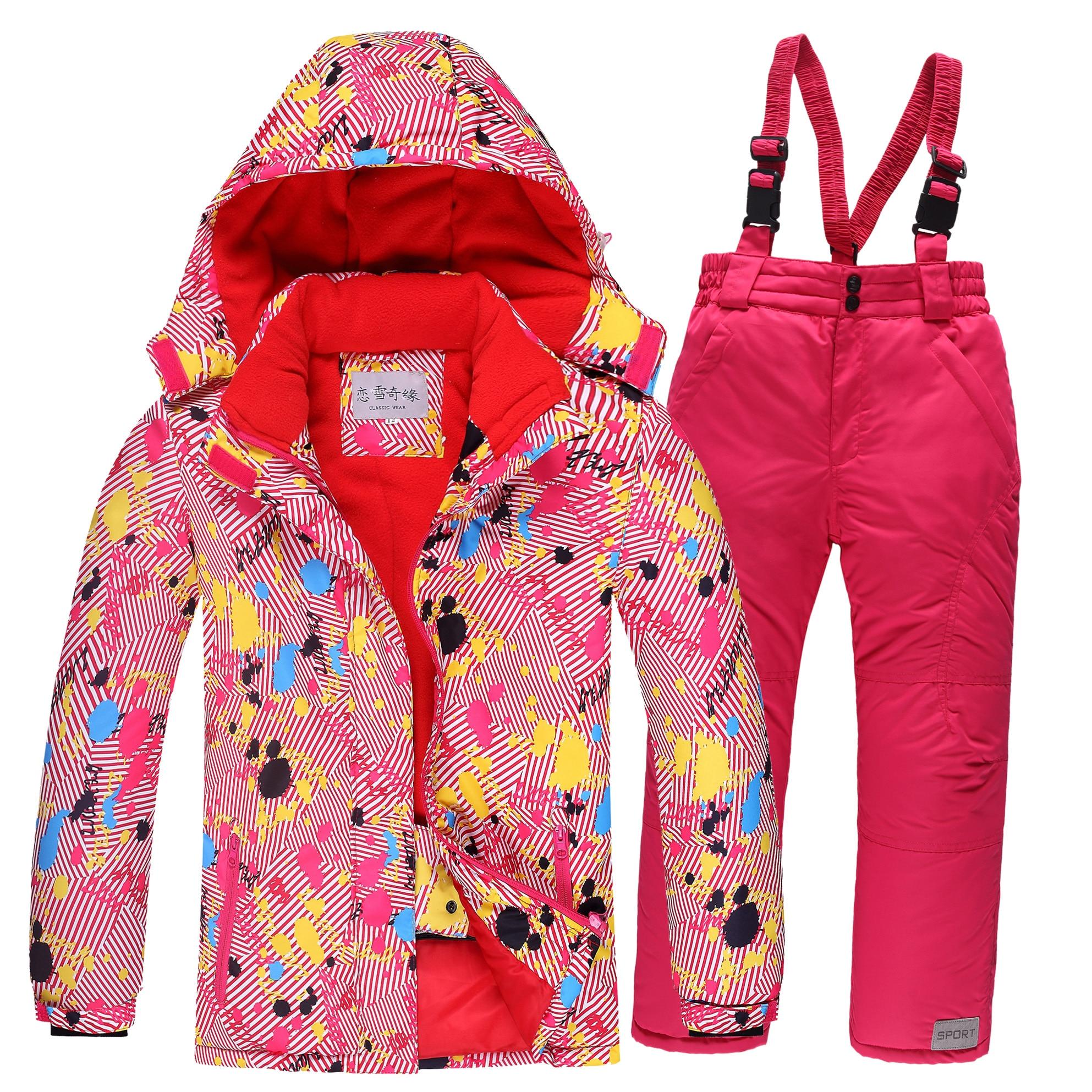 Mioigee 2019 enfants Ski costume enfants coupe-vent imperméable coloré filles pour garçon Snowboard neige veste pantalon hiver vêtements ensembles