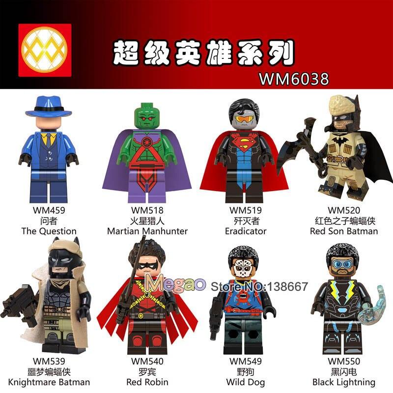 50PCS LOT DC Super Hero Red Son Batman The Question Robin Wild Dog Building Blocks Toys