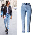 YiQuanYiMei Fashion boyfriend jeans for women Bleached jeans Straight denim pants jean pantalon high waist jeans woman