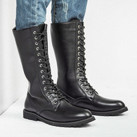 Genou bottes hommes bottes militaires en cuir haute hommes longues bottes de moto équestre M541