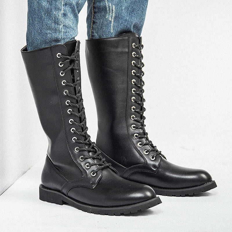 Knee High Boots Mens Military Boots Leather High Men Long Equestrian Motocycle Boots M541