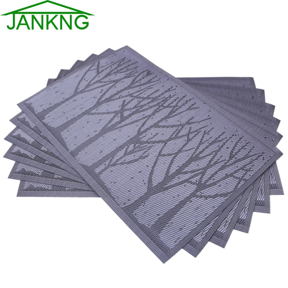 JANKNG 4Pcs/lot Cartoon Dinner Placemats PVC Place Table Mats Forest Tree Tableware Dinnerware Lovely Kitchen Table Pads Tools ...