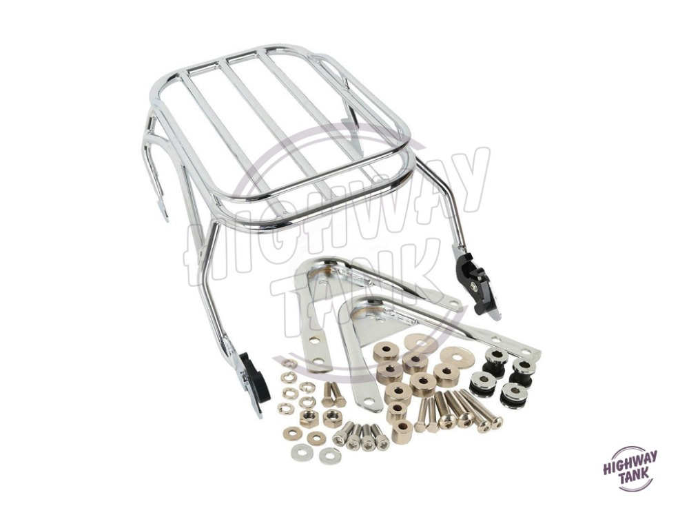 Chrome Motorcycle Luggage Rack & Docking Hardware Kits Moto Rear decoration case for Harley Touring Road King 1996-2008 motorcycle detachables solo luggage rack moto rear decoration mounting case for harley sportster xl1200 xl883 2004 2005 2017