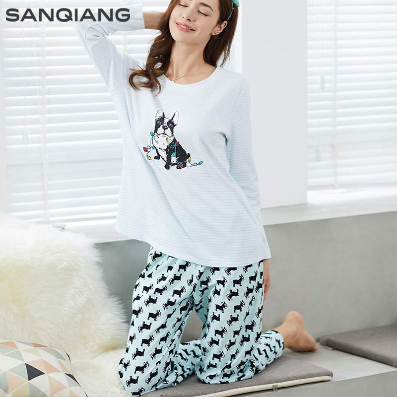 SANQIANG 100% Cotton Long Sleeve Women Fashion Pajamas Sets Sleep Wear Indoor Warm Top And Bottom Pants Christmas Gifts