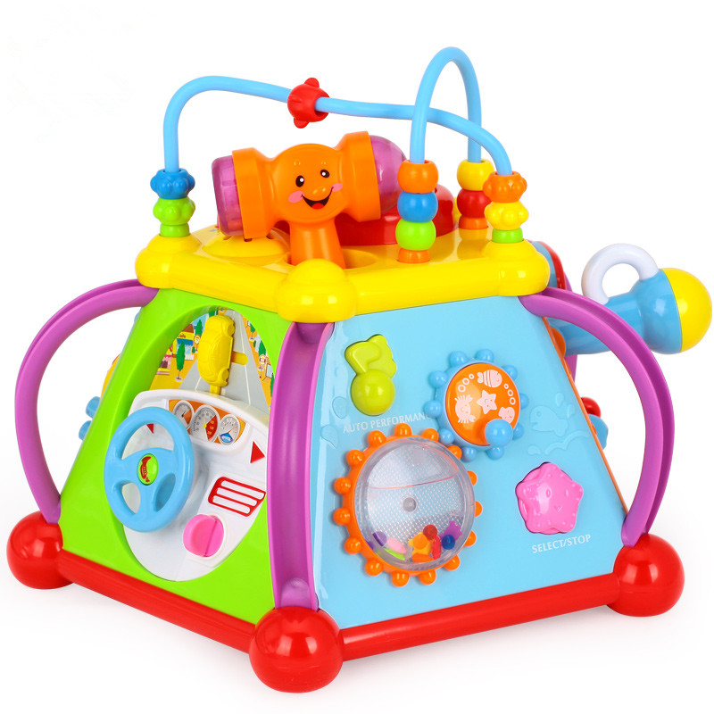 ФОТО Baby Toy Musical Activity Cube Play Center with Lights,15 Functions Skills Learning Educational Toys For Kids brinquedo musical