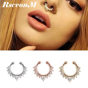 RscvonM New 1pc nostrils crystal Nose nails nose nail ring nose ring C rod false nose nail  puncture for women drop shipping