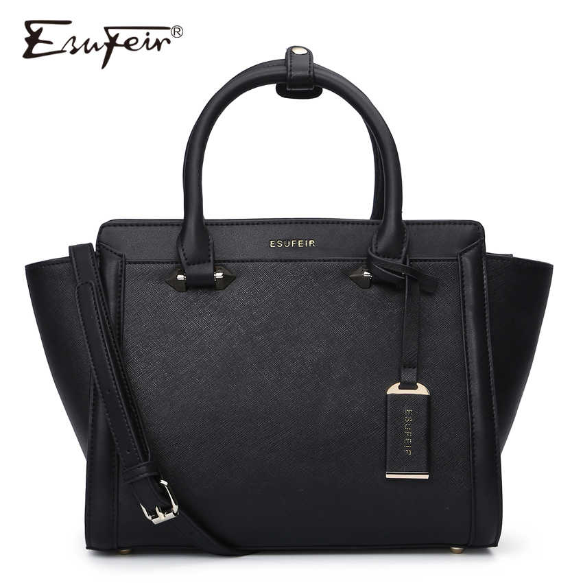 ESUFEIR Brand Genuine Leather Women Handbag Cross Pattern Cow Leather Shoulder Bag Fashion Design Top Handle Trapeze Women Bag
