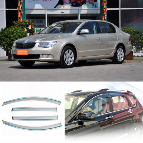 4pcs New Smoked Clear Window Vent Shade Visor Wind Deflectors For Skoda Superb